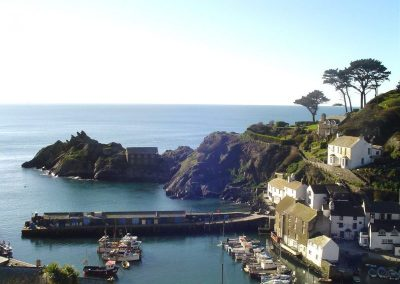 very large polperro harbour long view